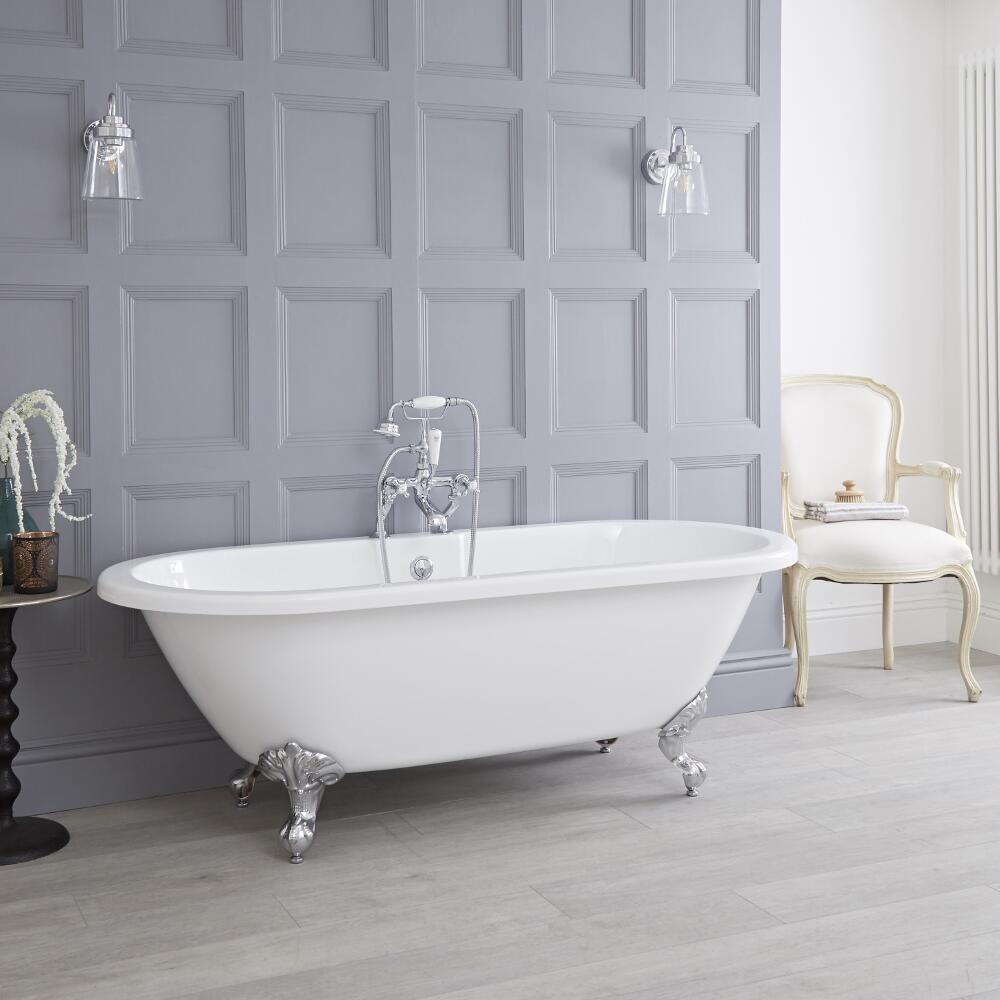 Milano Legend - 1780mm x 825mm Double Ended Roll Top Freestanding Bath with Choice of Feet