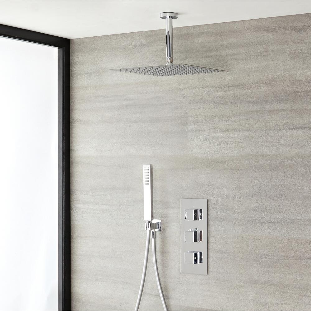 Milano Arvo - Modern Square Triple Diverter Thermostatic Valve, 300mm Shower Head with Ceiling Arm and Hand Shower - Chrome
