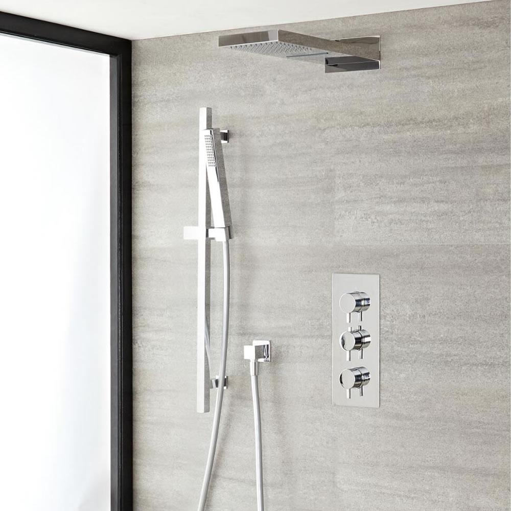 Milano Mirage - Chrome Thermostatic Shower with Diverter, Waterblade Shower Head, Hand Shower and Riser Rail (3 Outlet)