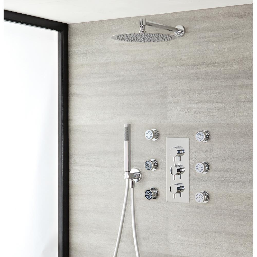 Milano Mirage - Modern Round Triple Diverter Thermostatic Shower Valve with 300mm Shower Head, Hand Shower Kit and Body Jets - Chrome