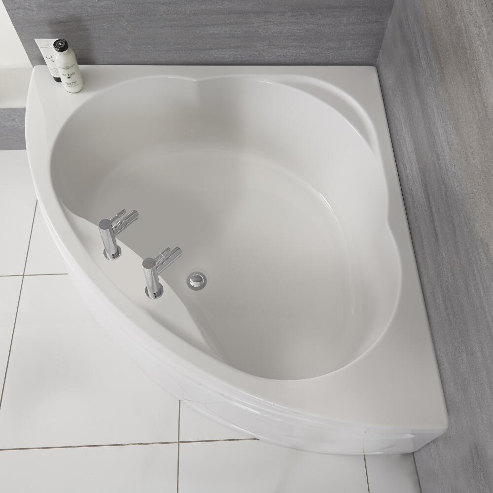 Milano Newby - White Modern Reversible Corner Bath with Panel - 1200mm x 1200mm