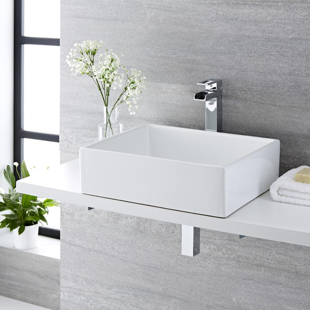 Milano Westby - White Modern Rectangular Countertop Basin - 490mm x 390mm (No Tap-Holes)