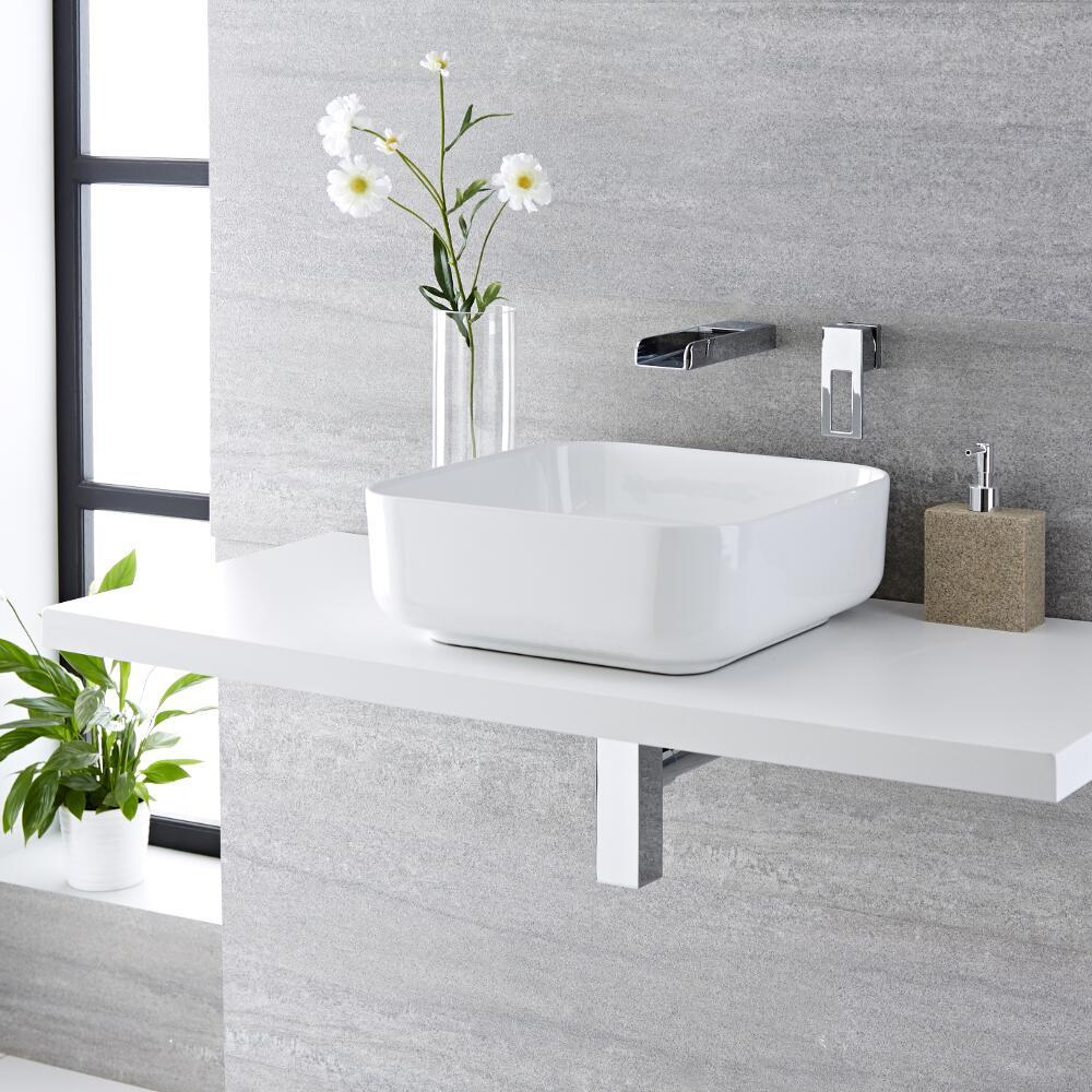 Milano Longton - White Modern Square Countertop Basin with Wall Hung Mixer Tap - 400mm x 400mm (No Tap-Holes)