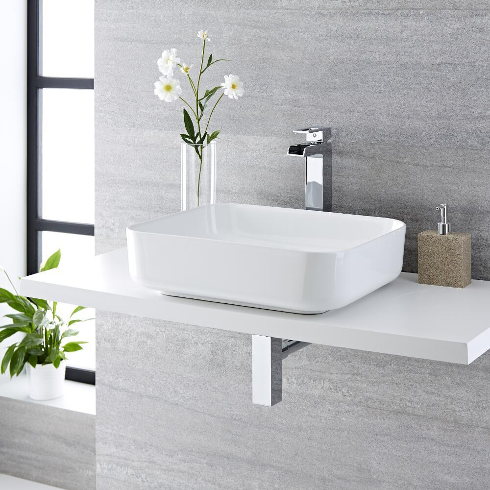 Milano Longton - White Modern Rectangular Countertop Basin with Deck Mounted High Rise MixerTap - 500mm x 390mm (No Tap-Holes)