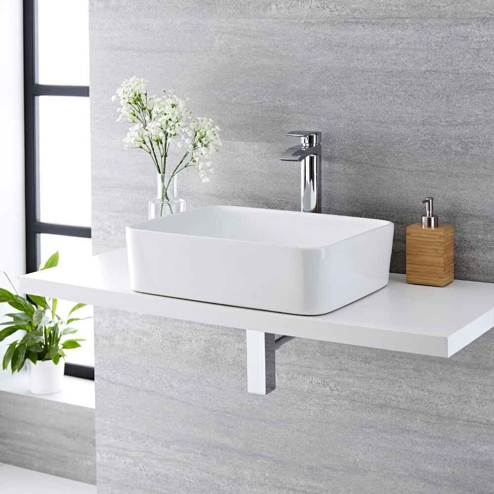 Milano Rivington - White Modern Rectangular Countertop Basin and Deck Mounted High Rise Mixer Tap - 480mm x 370mm
