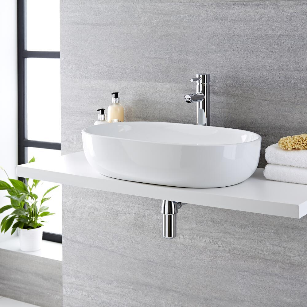 Milano Overton - White Modern Round Countertop Basin with Deck Mounted High Rise Mixer Tap - 590mm x 410mm (No Tap-Holes)