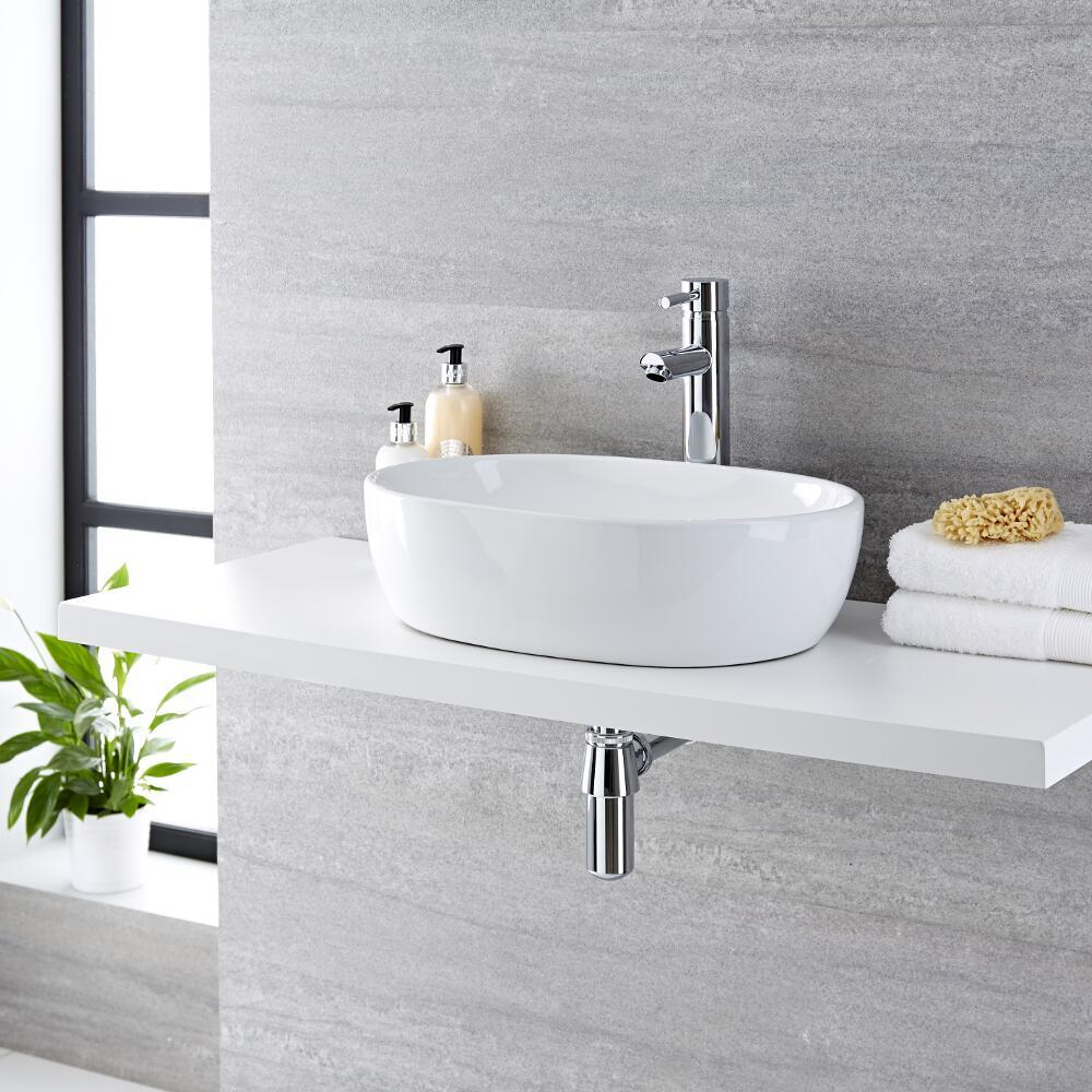 Milano Overton - White Modern Round Countertop Basin with Deck Mounted High Rise Mixer Tap - 480mm x 350mm (No Tap-Holes)