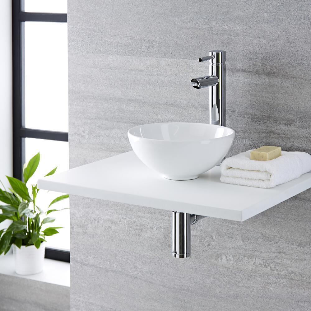 Milano Irwell - White Modern Round Countertop Basin with Deck Mounted High Rise Mixer Tap - 280mm x 280mm