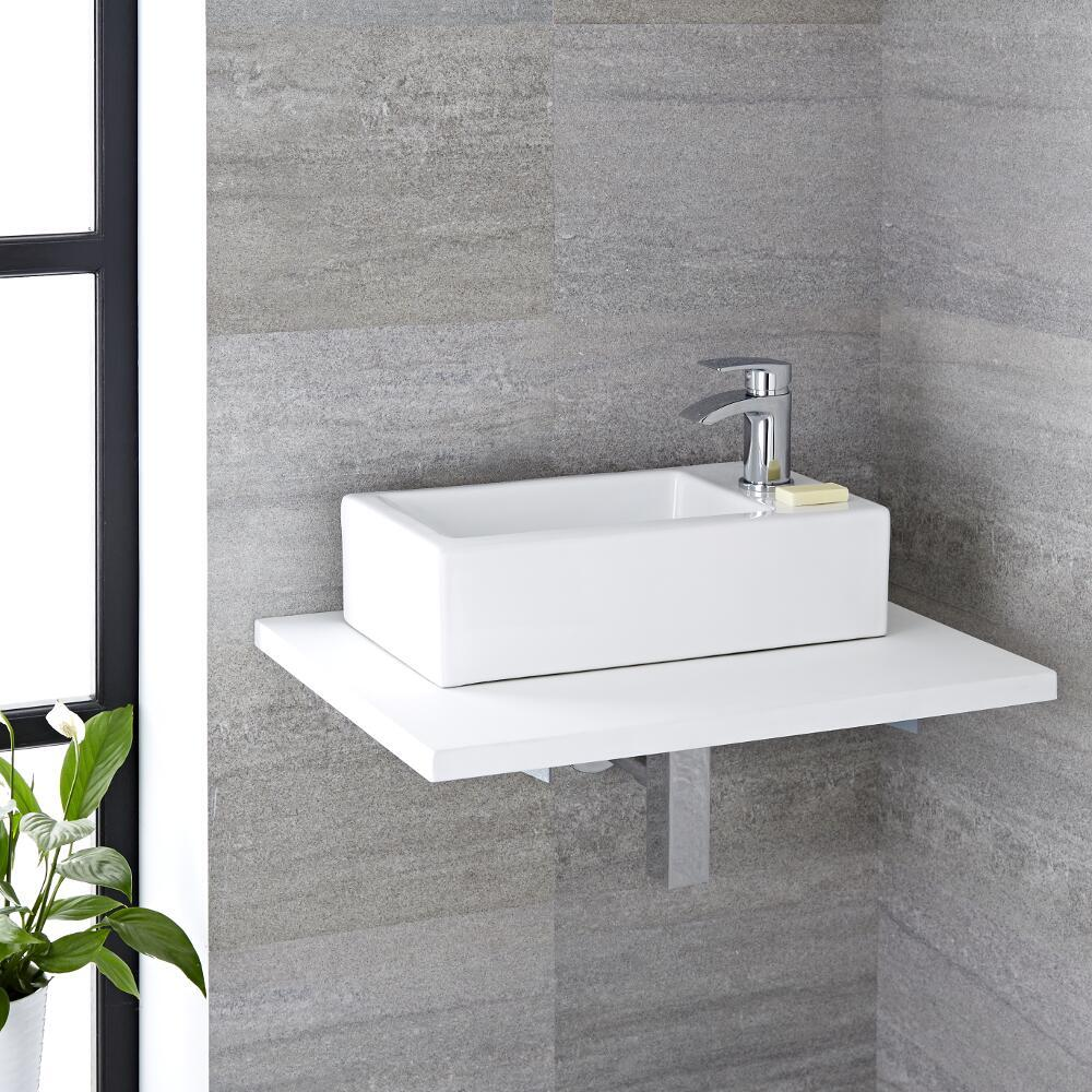 Milano Elswick - White Modern Rectangular Countertop Basin - 450mm x 250mm (1 Tap-Hole)