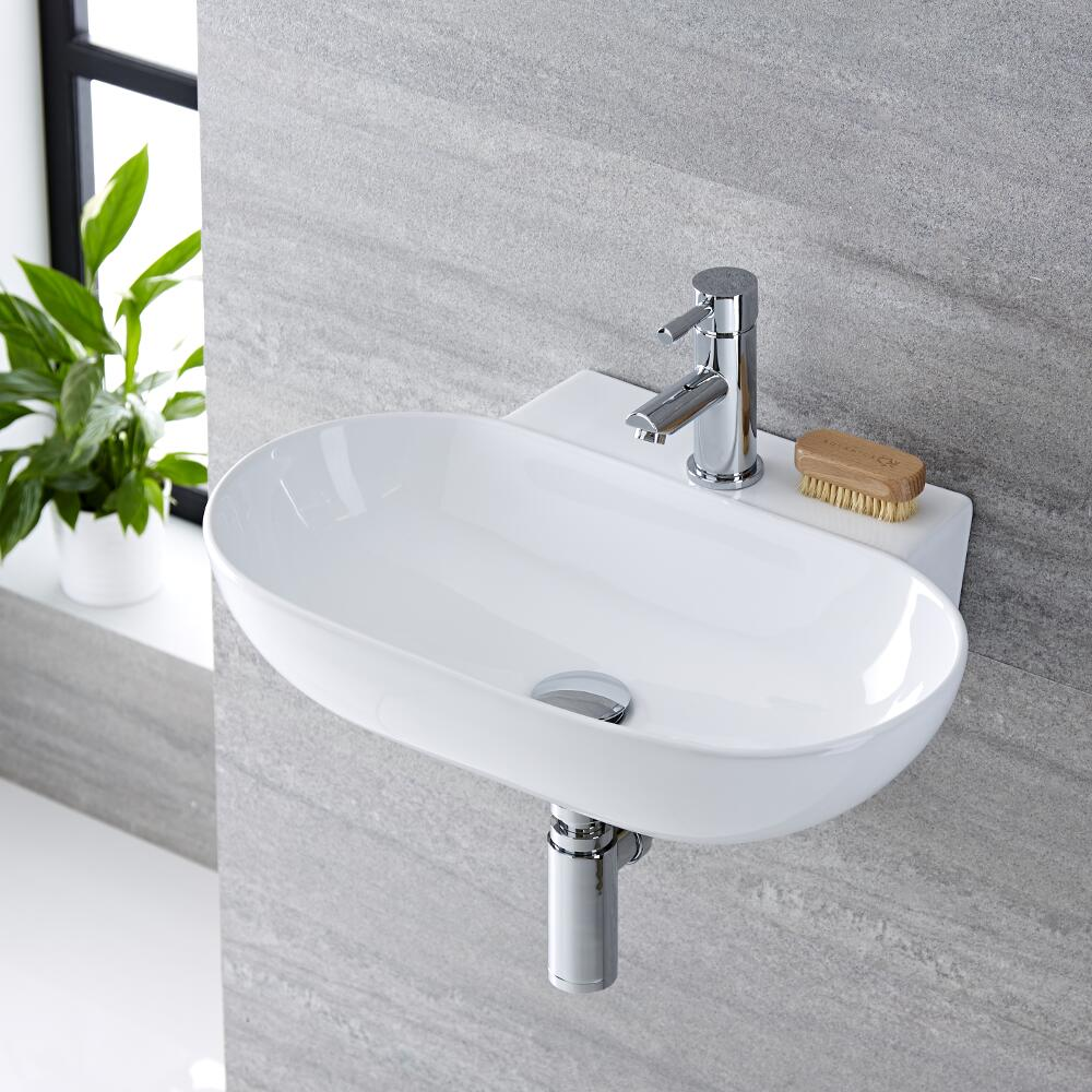 Milano Overton - White Modern Round Wall Hung Basin - 555mm x 395mm (1 Tap-Hole)