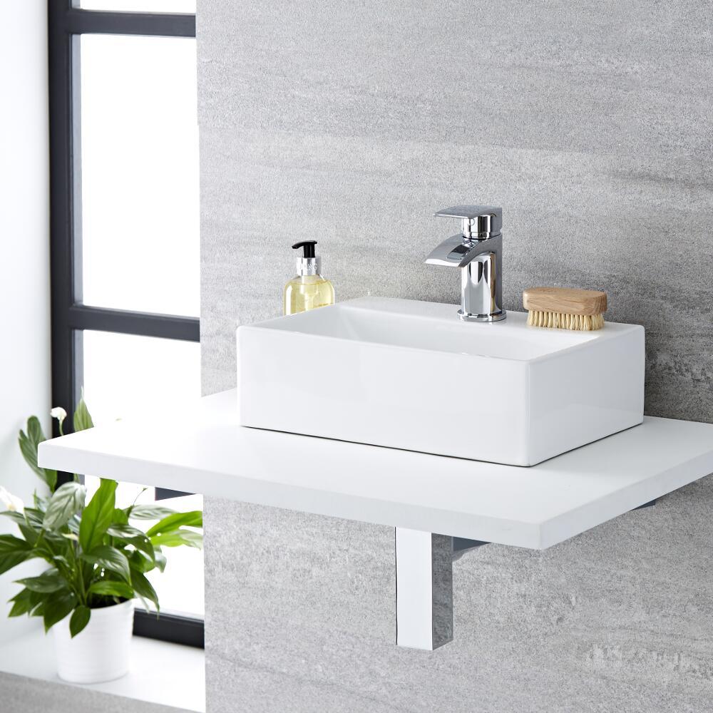 Milano Elswick - White Modern Rectangular Countertop Basin with Mini Mixer Tap - 360mm x 250mm (1 Tap-Hole)