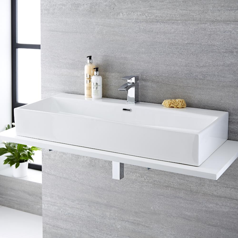 Milano Elswick - White Modern Rectangular Countertop Basin with Mixer Tap - 1010mm x 425mm (1 Tap-Hole)