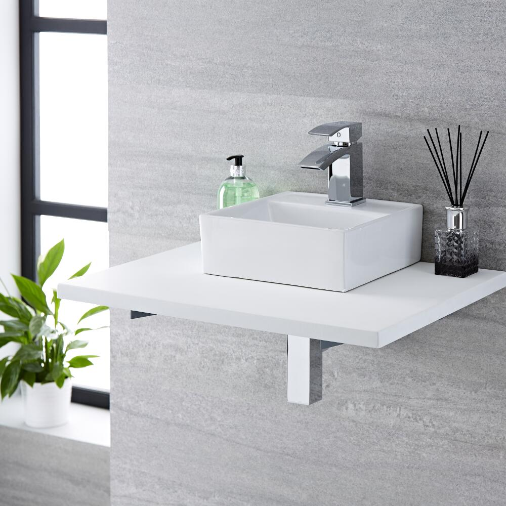 Milano Dalton - White Modern Square Countertop Basin with Deck Mounted Mixer Tap - 280mm x 280mm