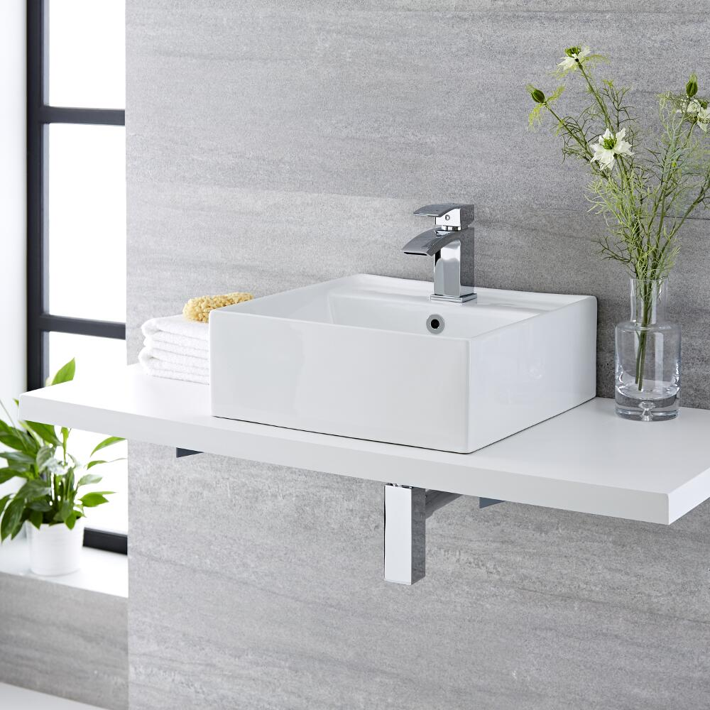 Milano Dalton - White Modern Square Countertop Basin with Mixer Tap - 410mm x 410mm (1 Tap-Hole)