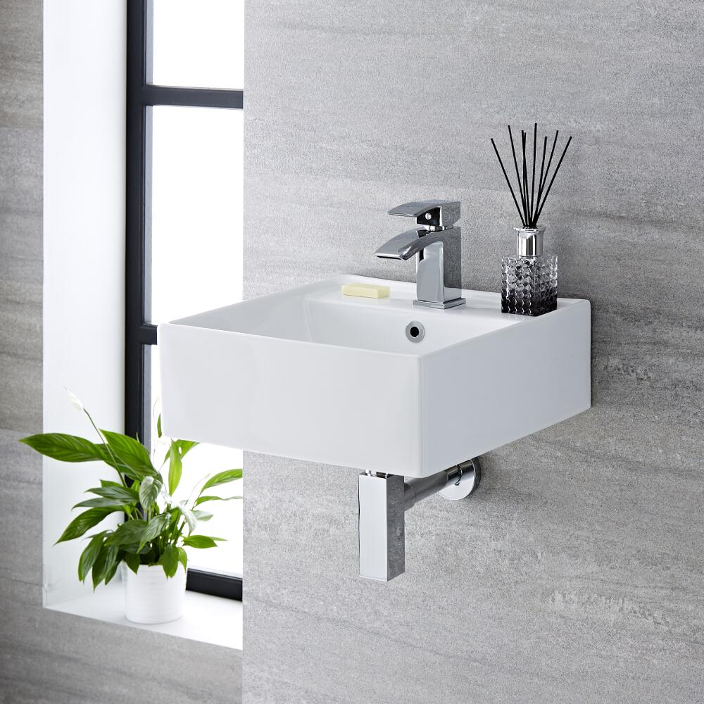 Milano Dalton - White Modern Square Wall Hung Basin - 410mm x 410mm (1 Tap-Hole)