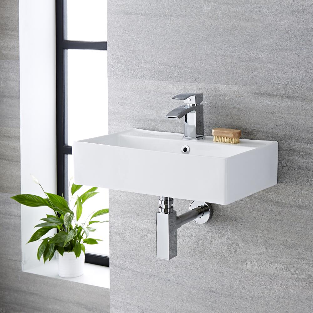 Milano Dalton - White Modern Rectangular Wall Hung Basin - 550mm x 315mm (1 Tap-Hole)