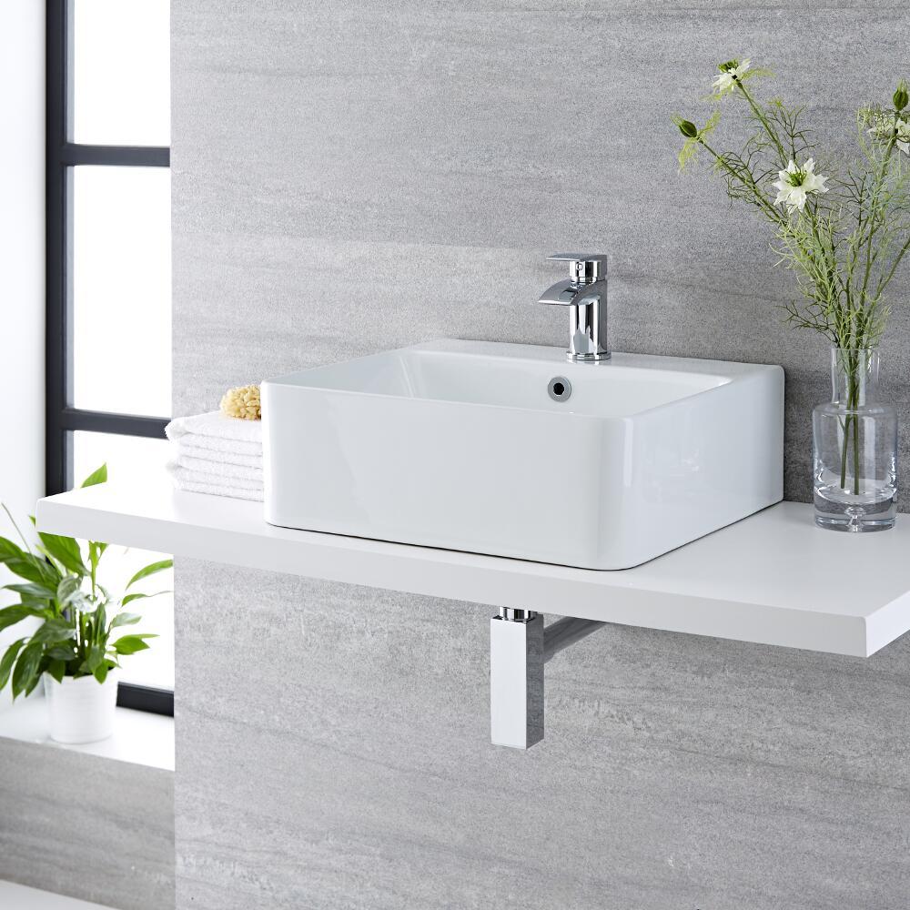 Milano Farrington - White Modern Rectangular Countertop Basin with Deck Mounted Mixer Tap - 460mm x 420mm