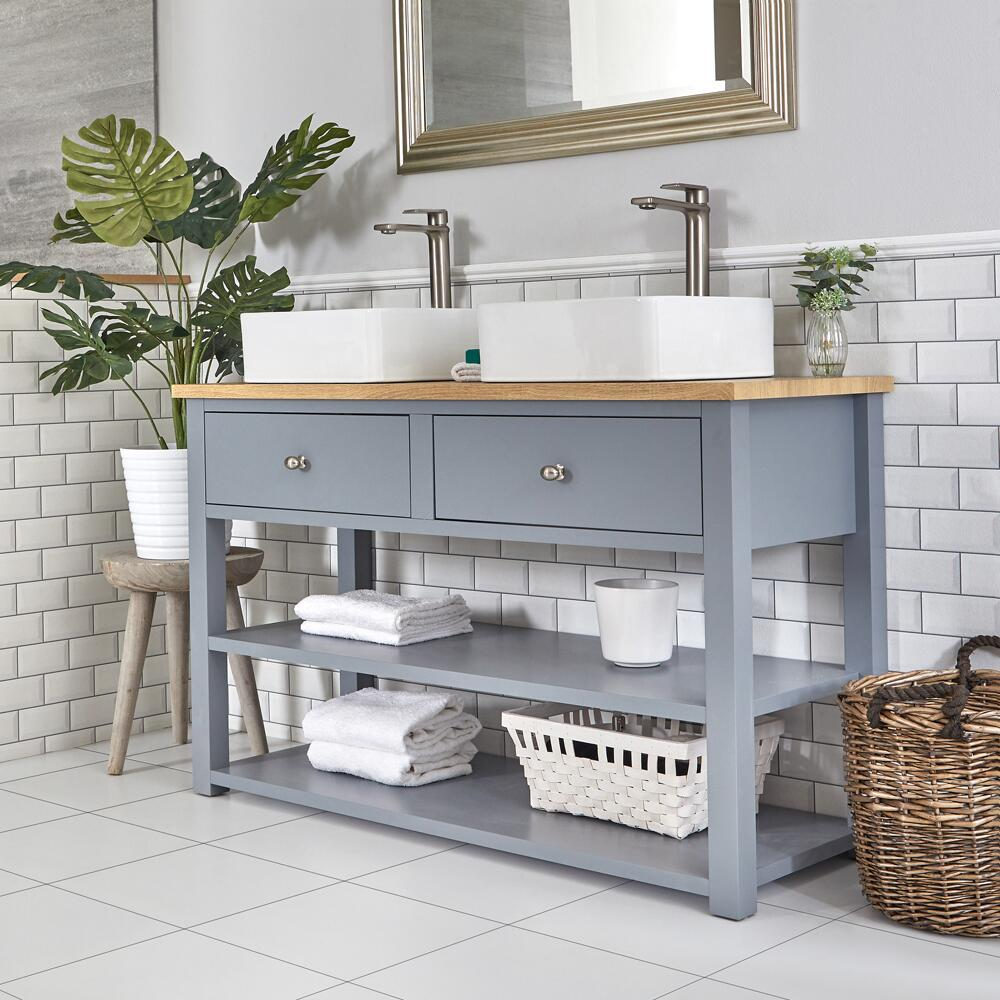 Milano Henley - Light Grey 1240mm Traditional Vanity Unit with Square Countertop Basins