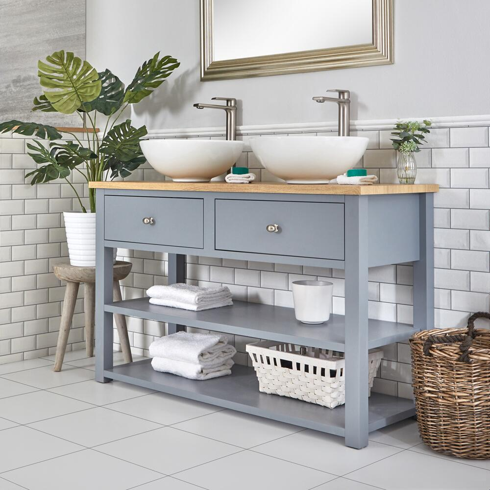 Milano Henley - Light Grey 1240mm Traditional Vanity Unit with Round Countertop Basins