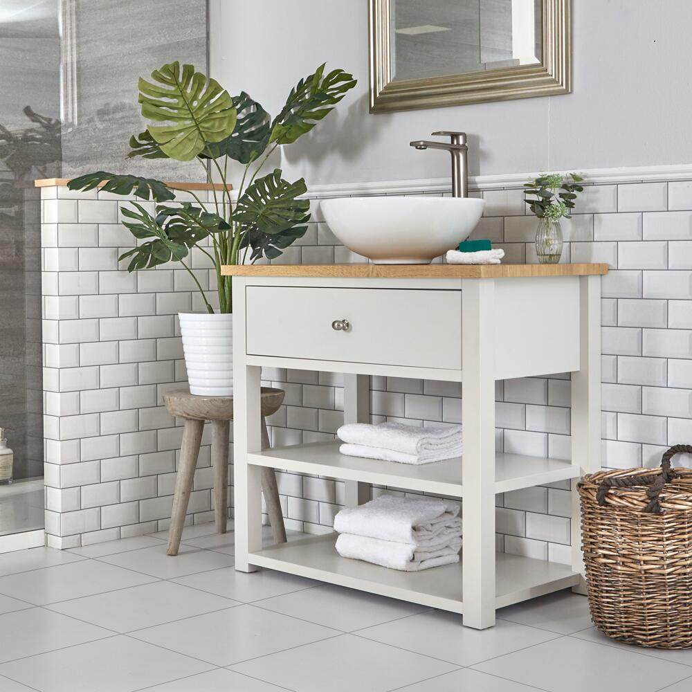 Milano Henley - Antique White 840mm Traditional Vanity Unit with Round Countertop Basin