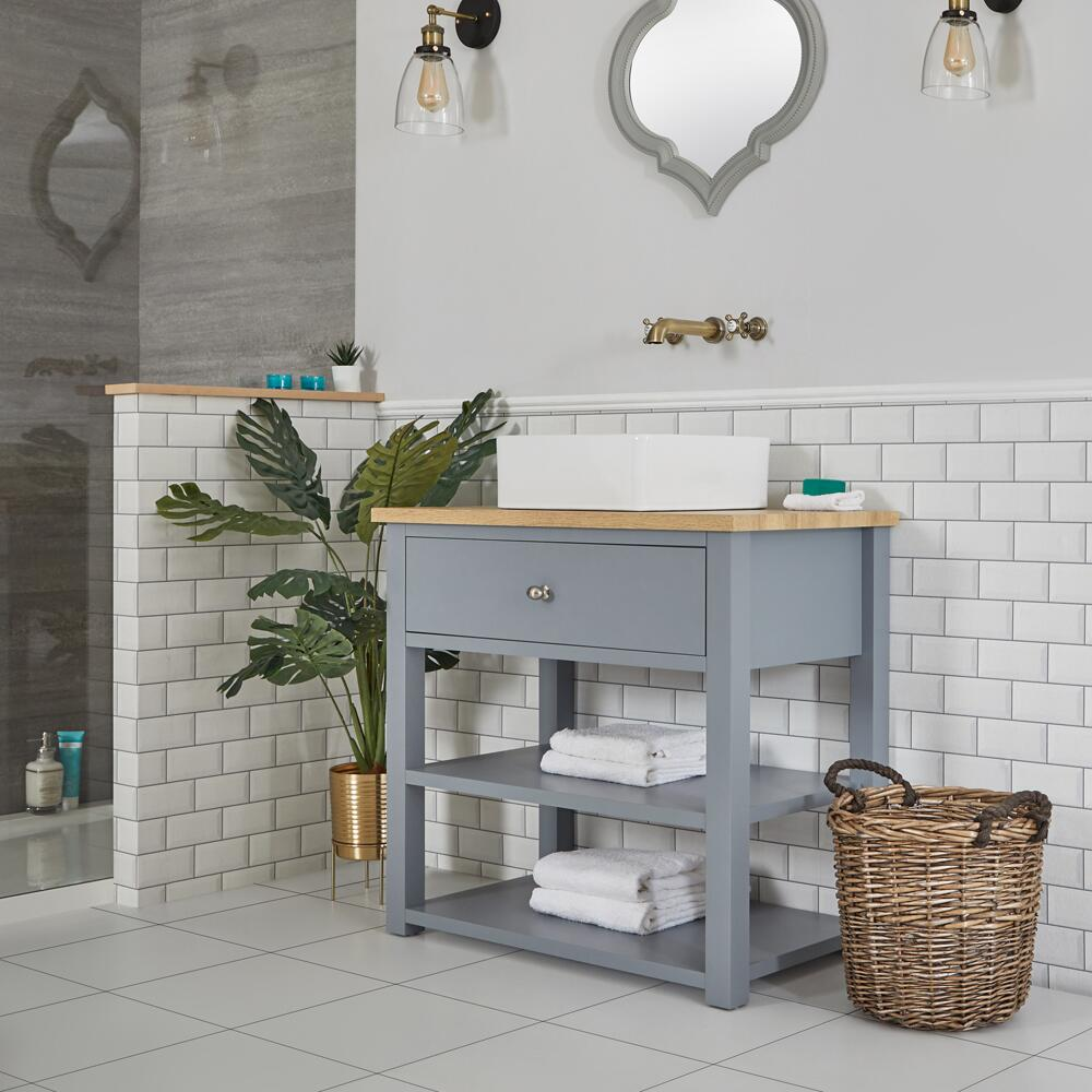 Milano Henley - Light Grey 840mm Traditional Vanity Unit with Square Countertop Basin