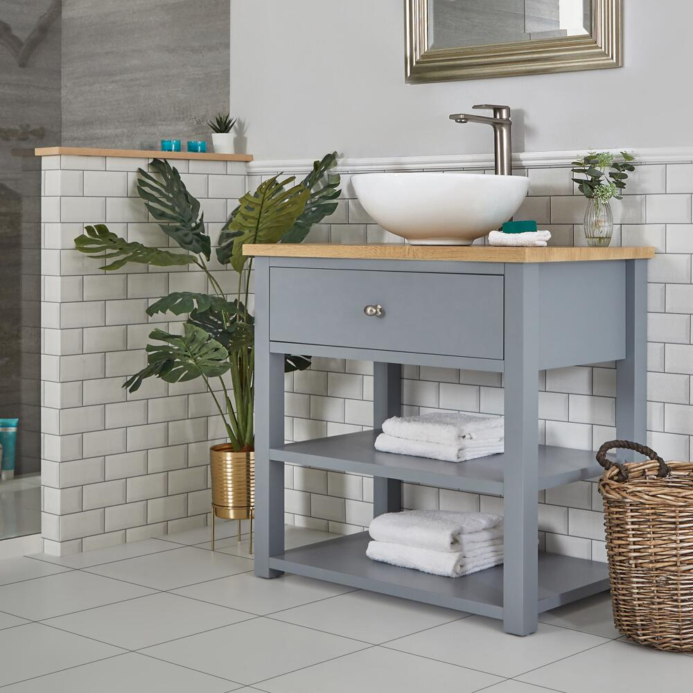 Milano Henley - Light Grey 840mm Traditional Vanity Unit with Round Countertop Basin