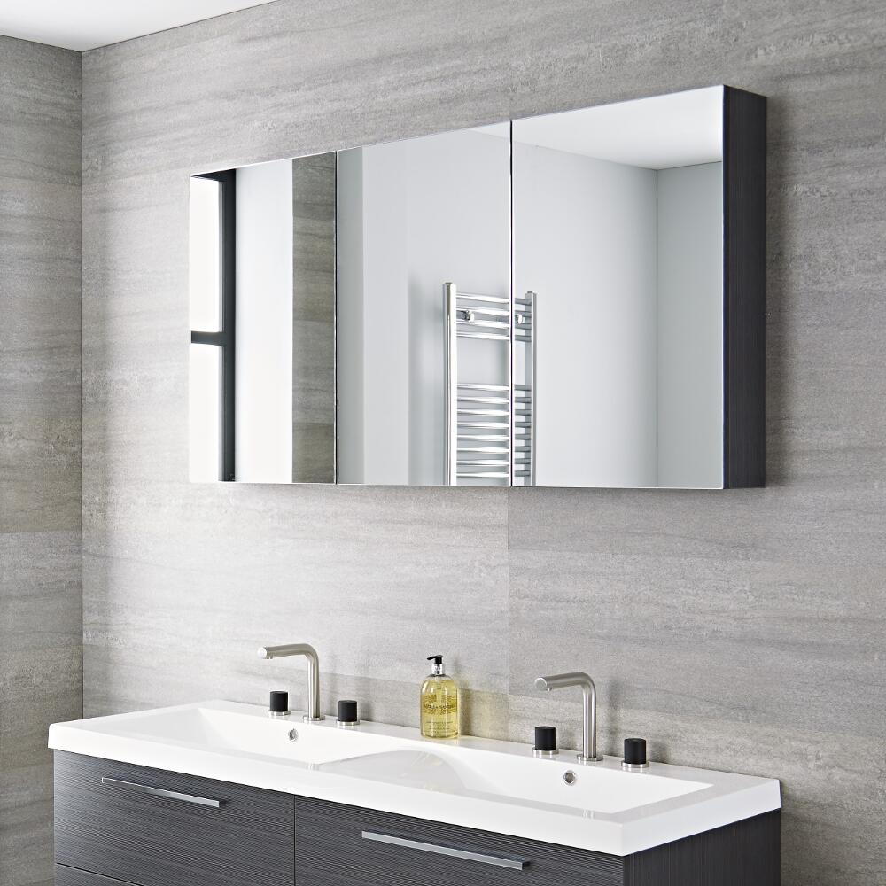Milano Linley - Grey Modern 3 Door Mirrored Cabinet - 1350mm x 700mm