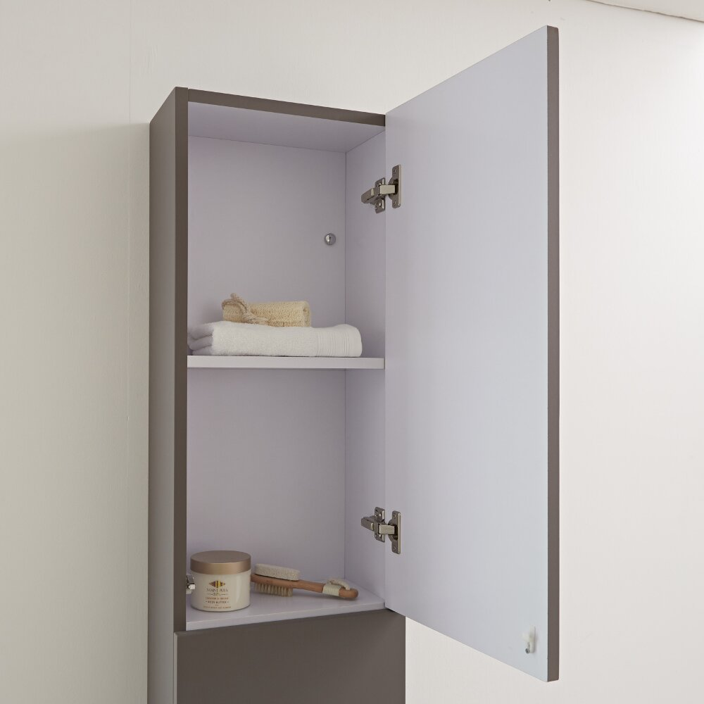 Milano Oxley - Matt Grey Modern Wall Hung Closed Storage Unit - 350mm x 1500mm