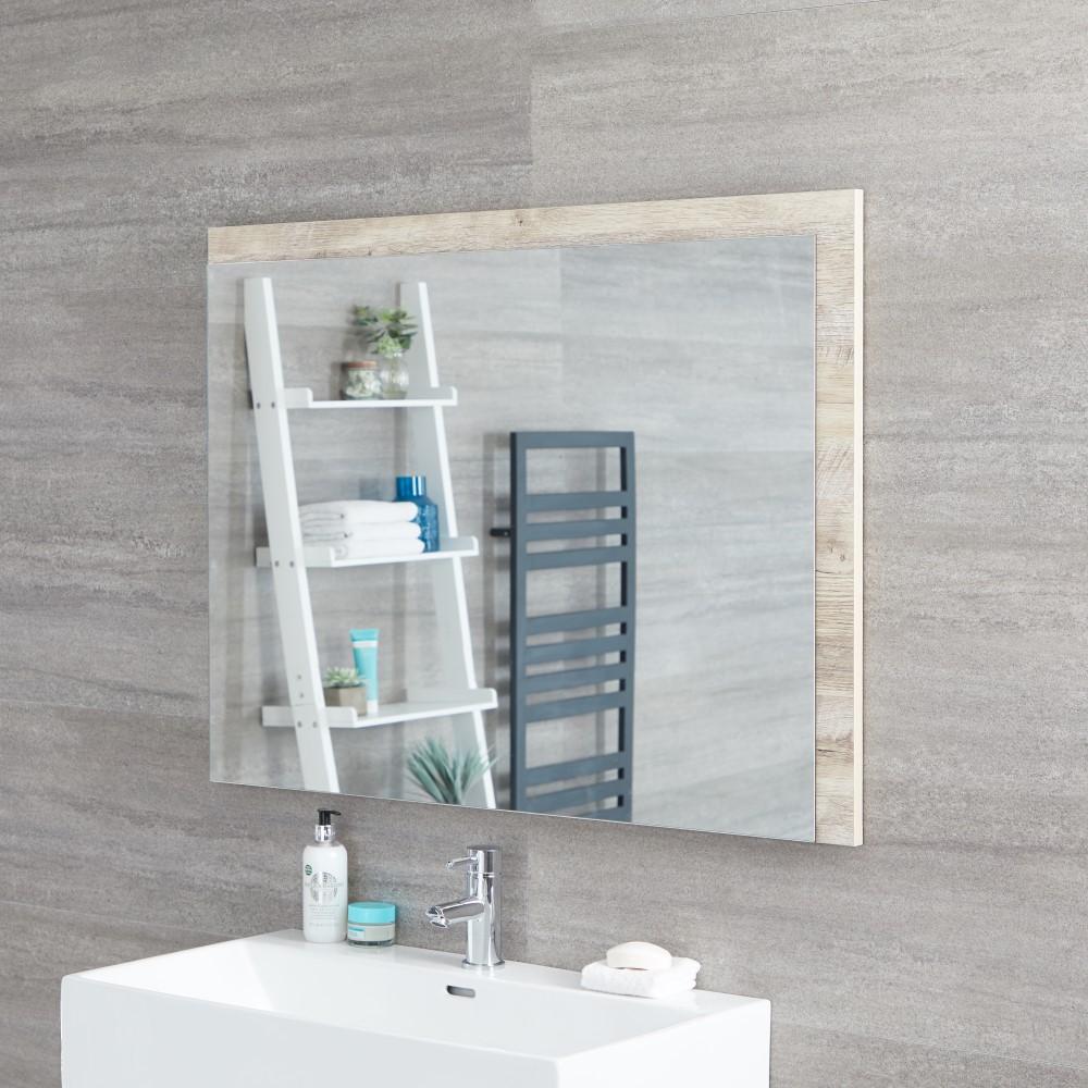 Milano Bexley - Light Oak Modern Wall Hung Mirror - 1000mm x 750mm