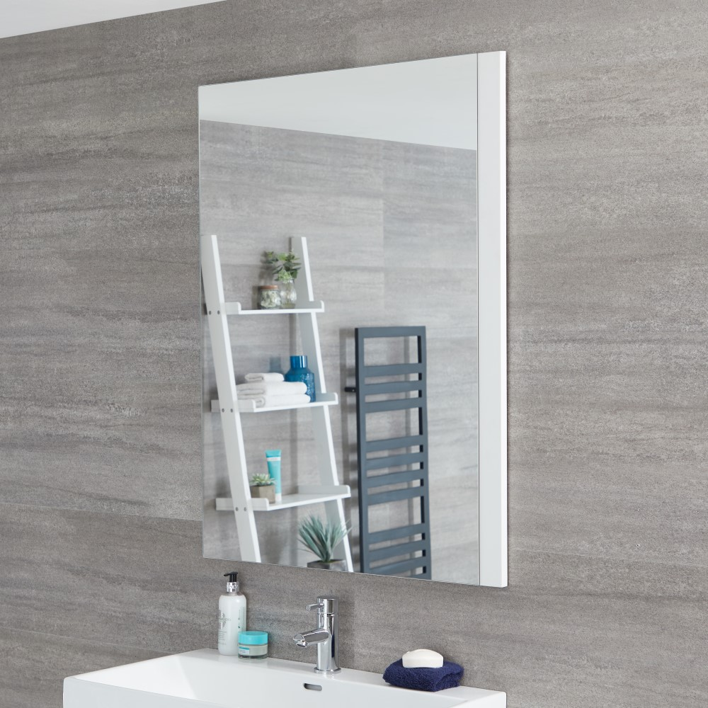 Milano Oxley - White Modern Wall Hung Mirror - 1000mm x 750mm