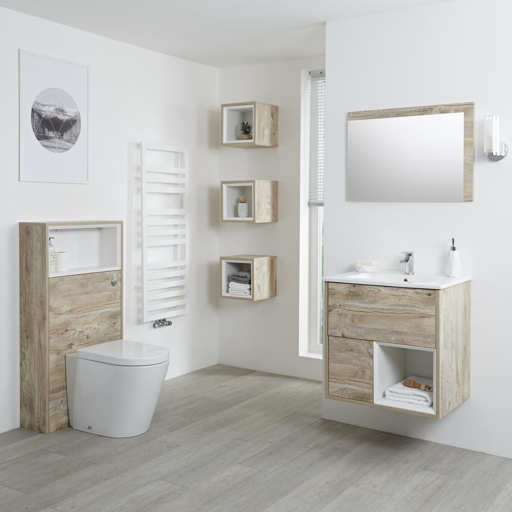 Milano Bexley - Light Oak Modern 600mm Open Shelf Vanity Unit, WC Unit, Pan, Three Storage Units and Mirror