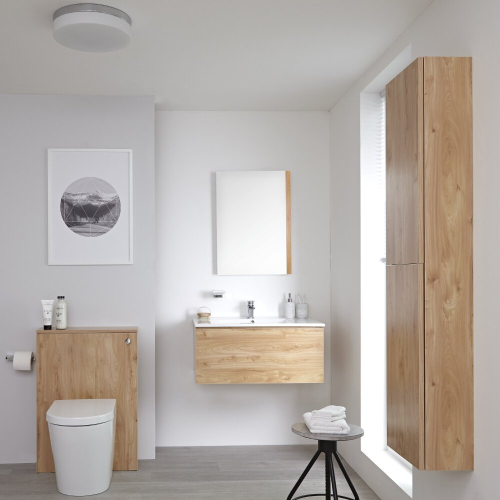 Milano Oxley - 800mm Vanity Unit with Basin, WC Unit and Back to Wall Pan, Storage Unit and Mirror - Golden Oak