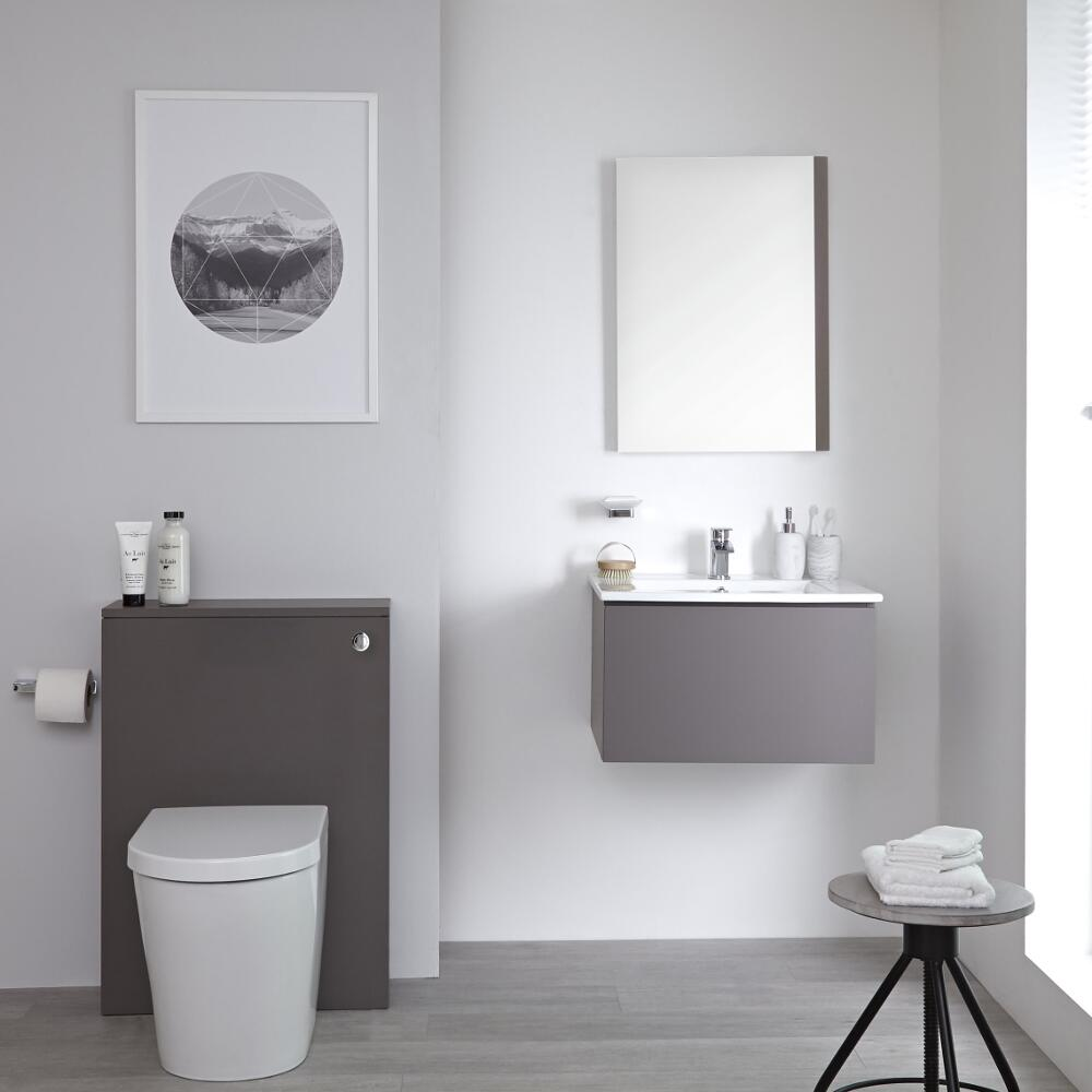 Milano Oxley - 600mm Modern WC Unit with Back to Wall Toilet - Matt Grey