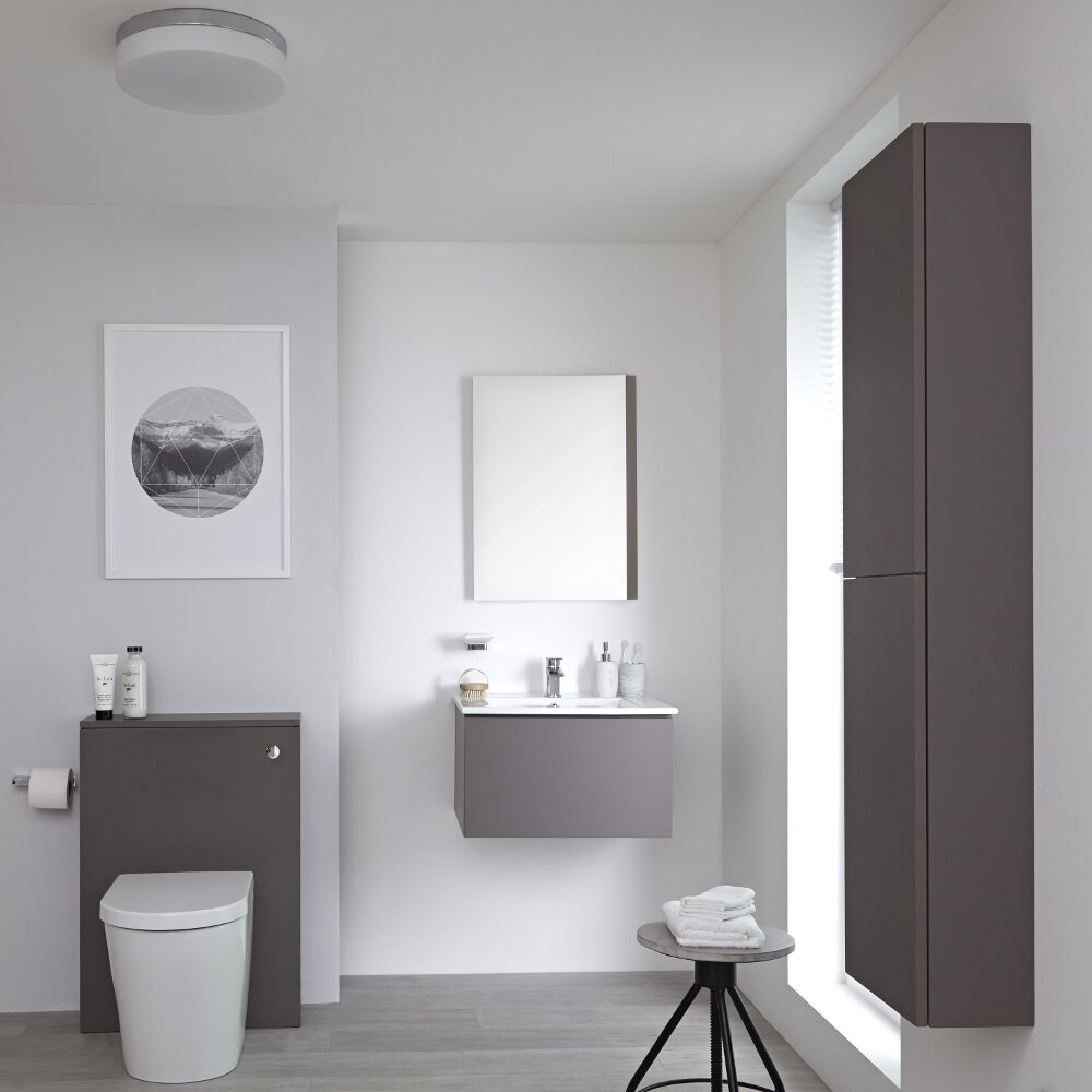 Milano Oxley - Grey Modern 600mm Vanity Unit with Basin, WC Unit, Back to Wall Pan, Storage Unit and Mirror