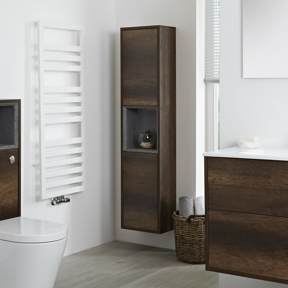 Milano Bexley - Dark Oak Modern Wall Hung Open Storage Unit - 350mm x 1500mm