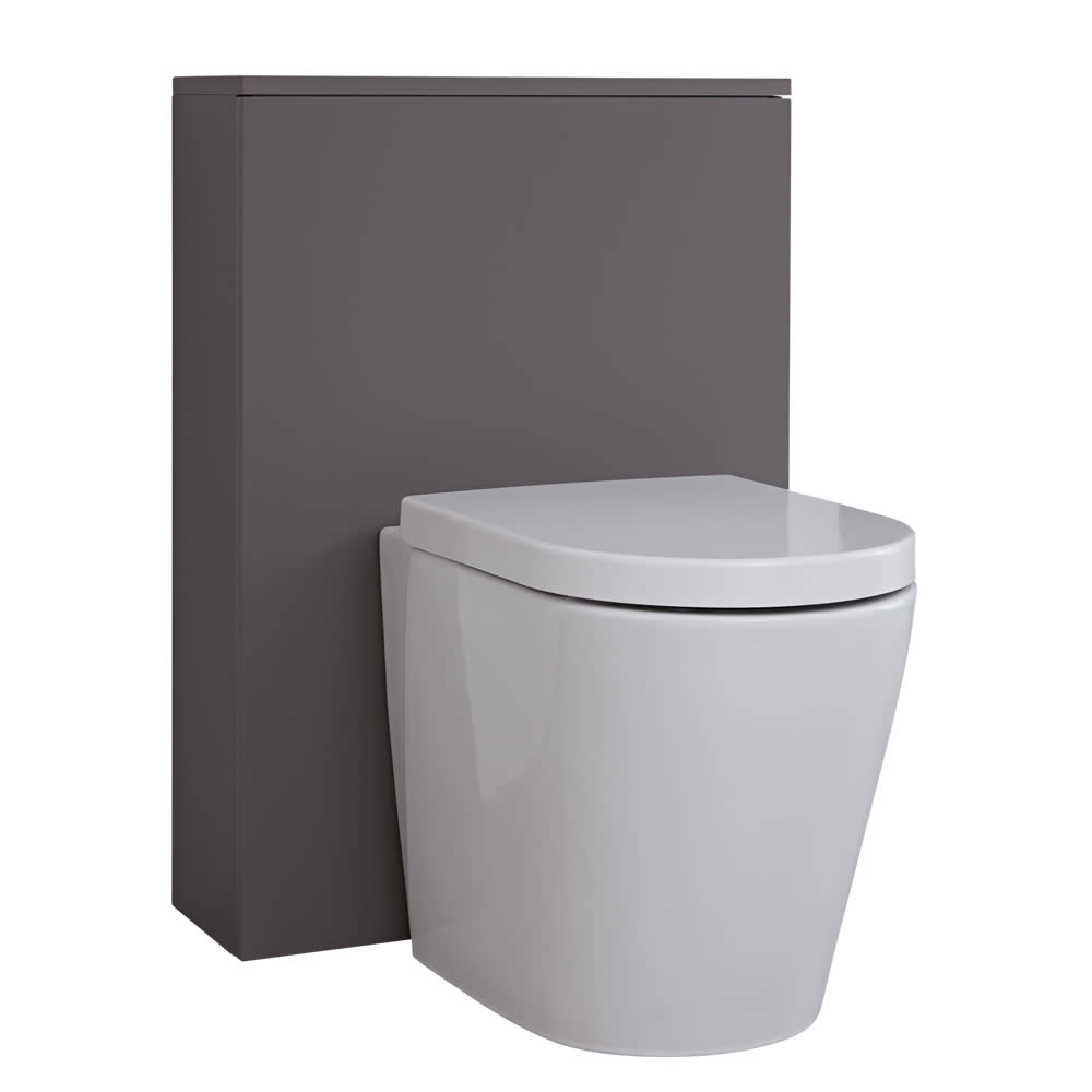 Milano Oxley - Matt Grey Modern WC Unit - 600mm x 850mm