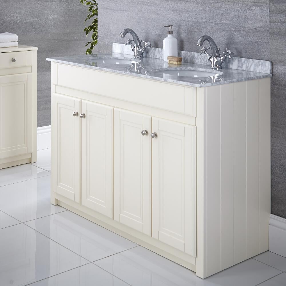 Milano Edgworth - Ivory and White  Traditional 1200mm Vanity Unit with Double Basin (2 Tap-Holes)