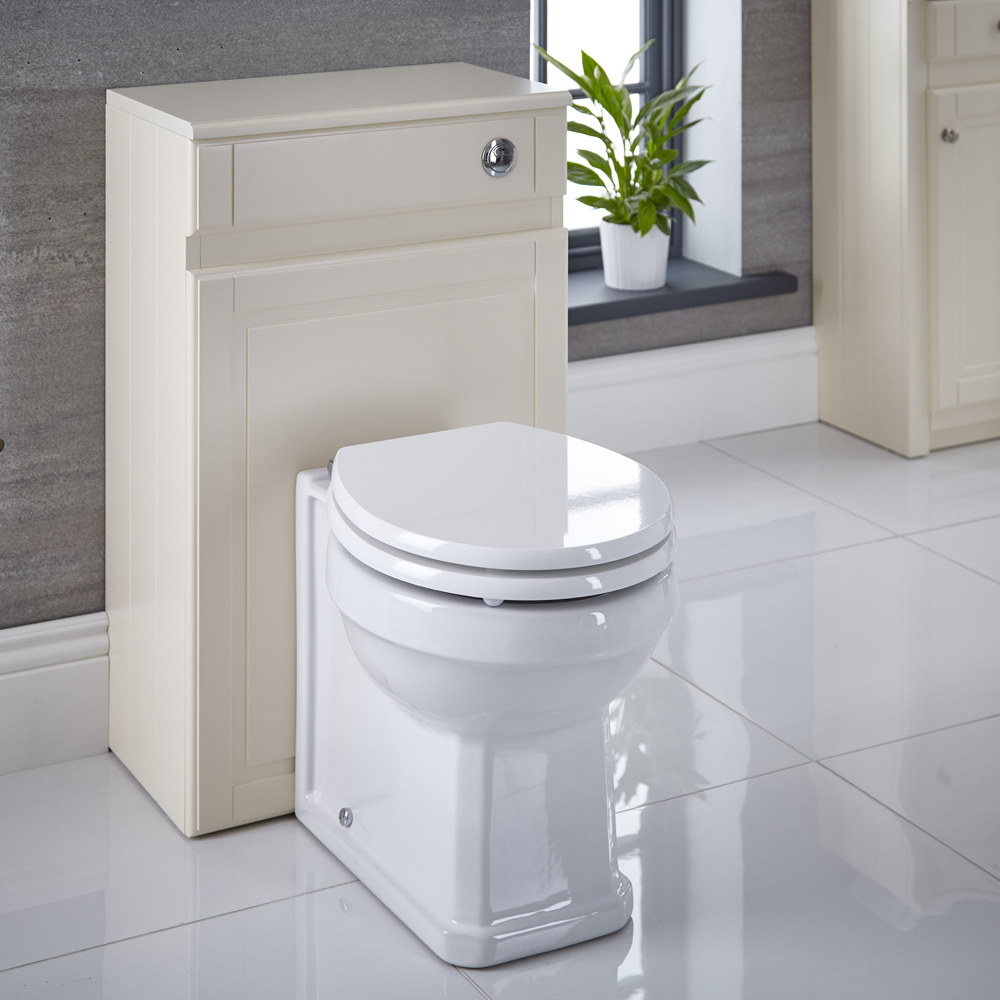 Milano Edgworth - Ivory Traditional 500mm WC Unit with Back to Wall Toilet, Cistern and Seat