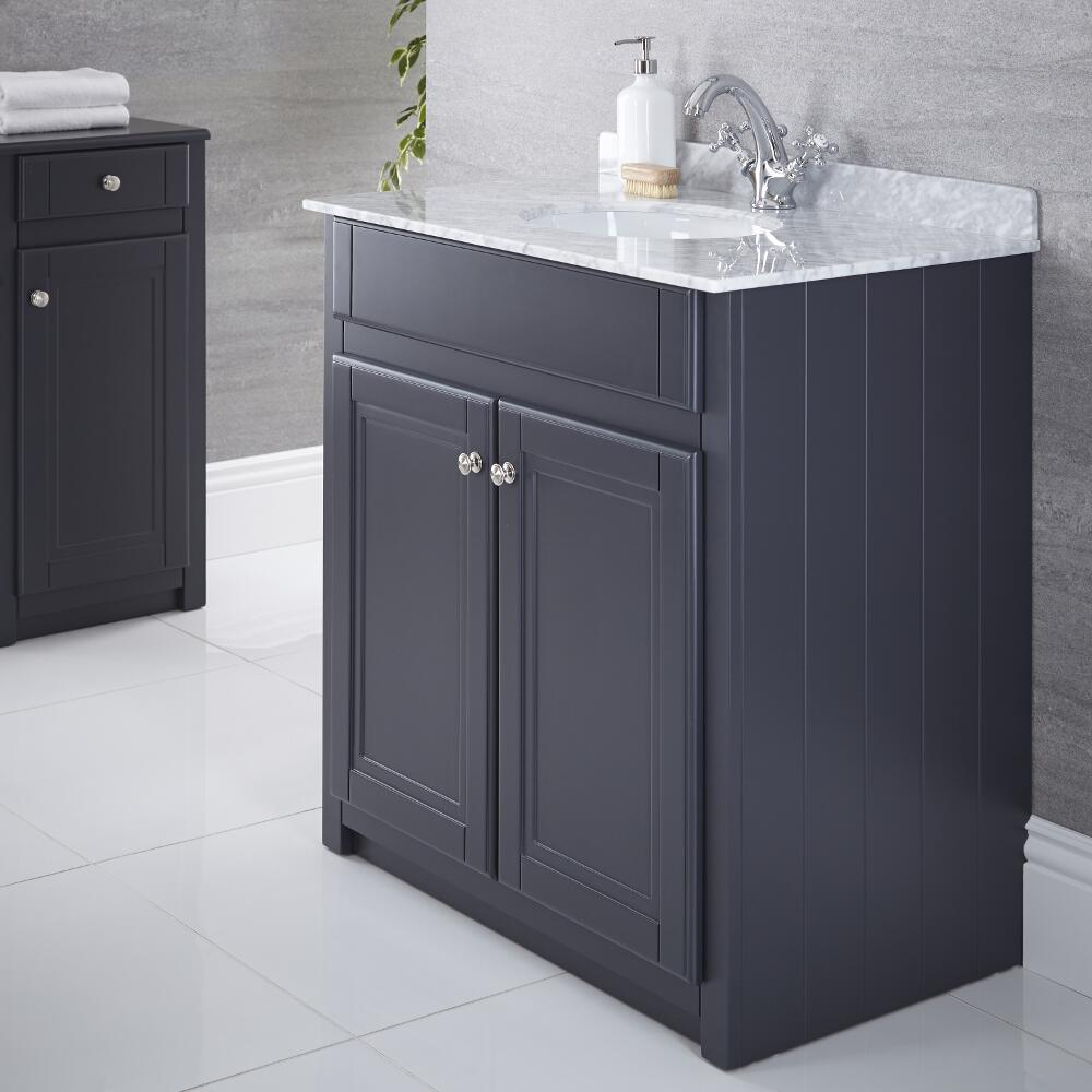 Milano Edgworth - Anthracite and White Traditional 800mm Vanity Unit and Basin