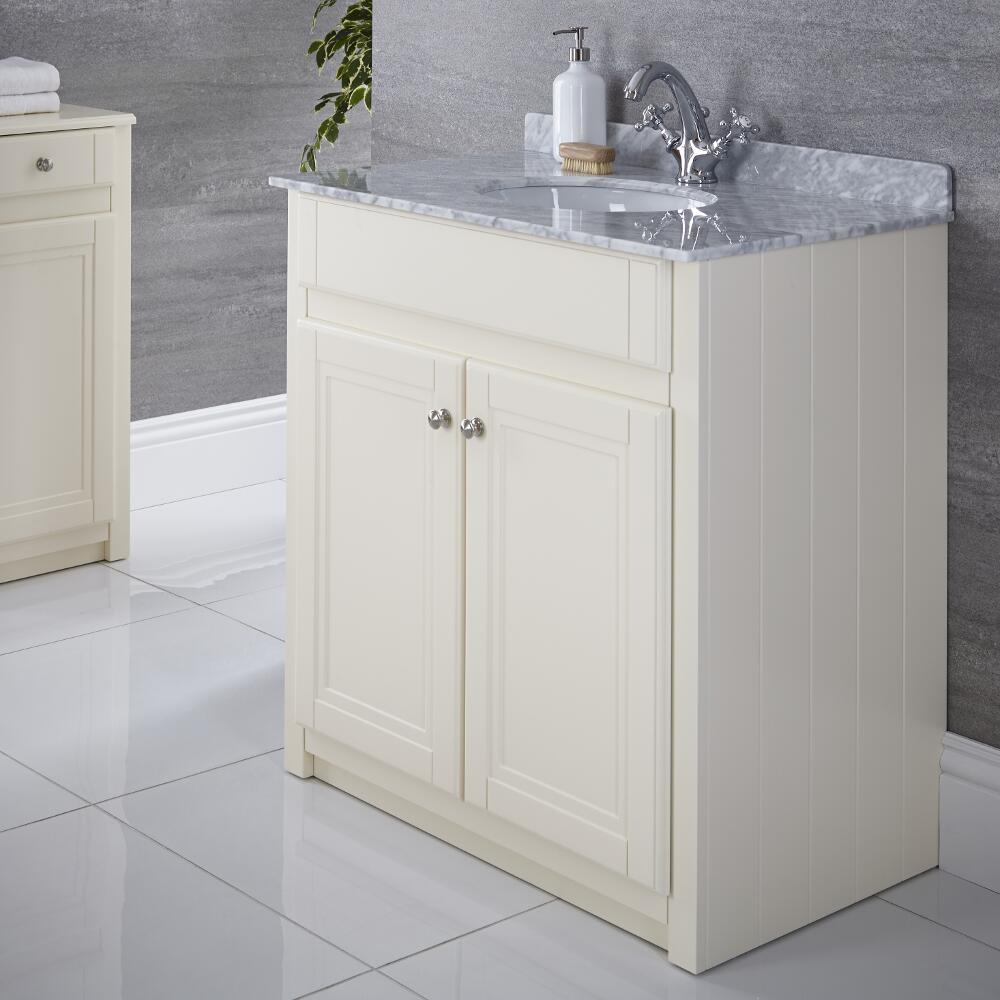 Milano Edgworth - Ivory and White Traditional 800mm Vanity Unit and Basin