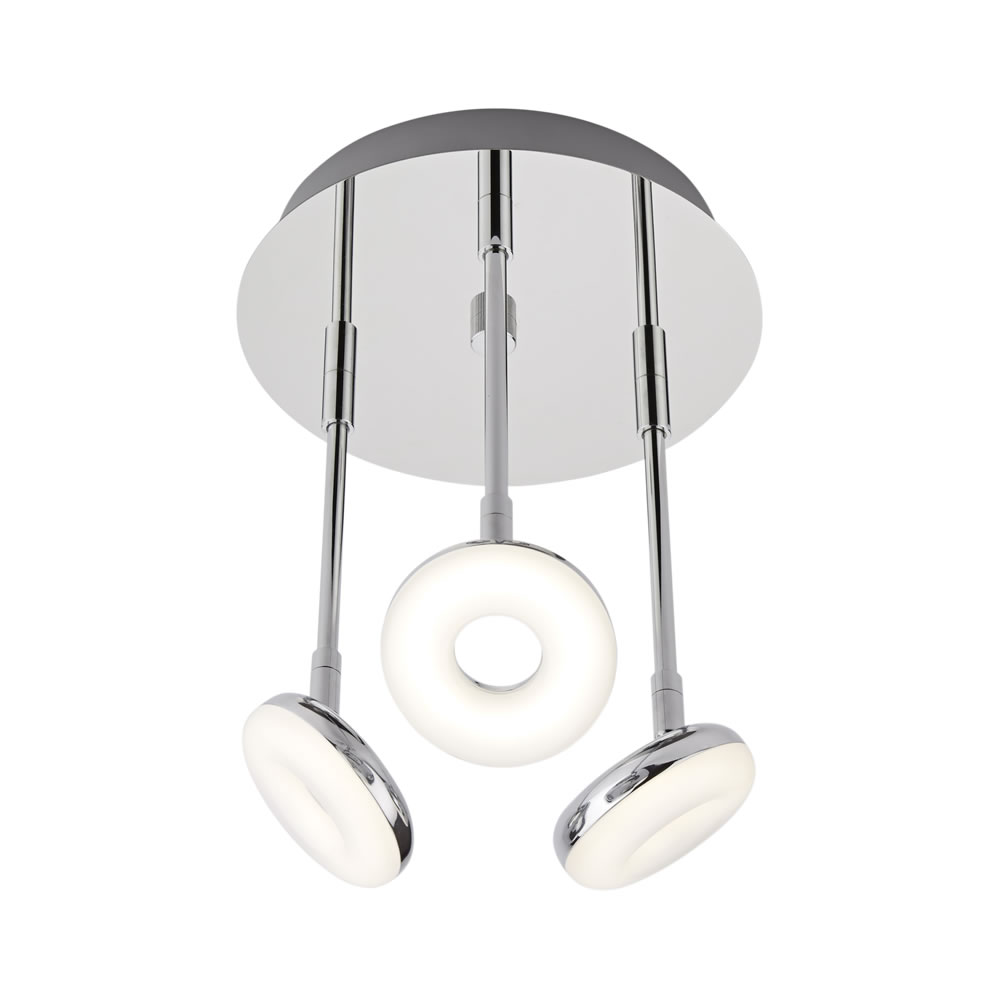 Biard Ciambella Three LED Chrome Bathroom Ceiling Light