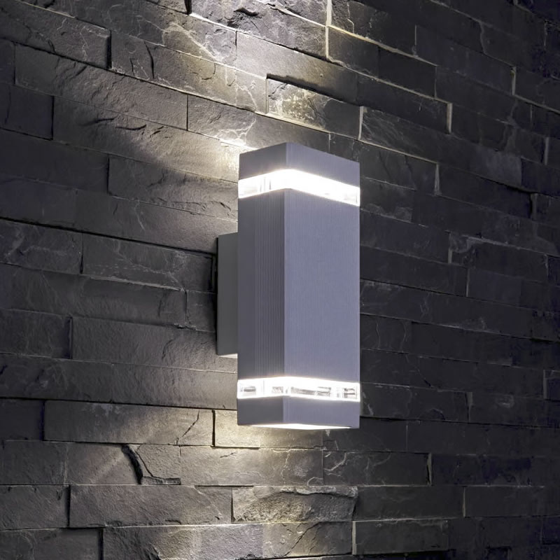 Biard Architect IP54 Square Up/Down Outdoor Wall Light - Silver