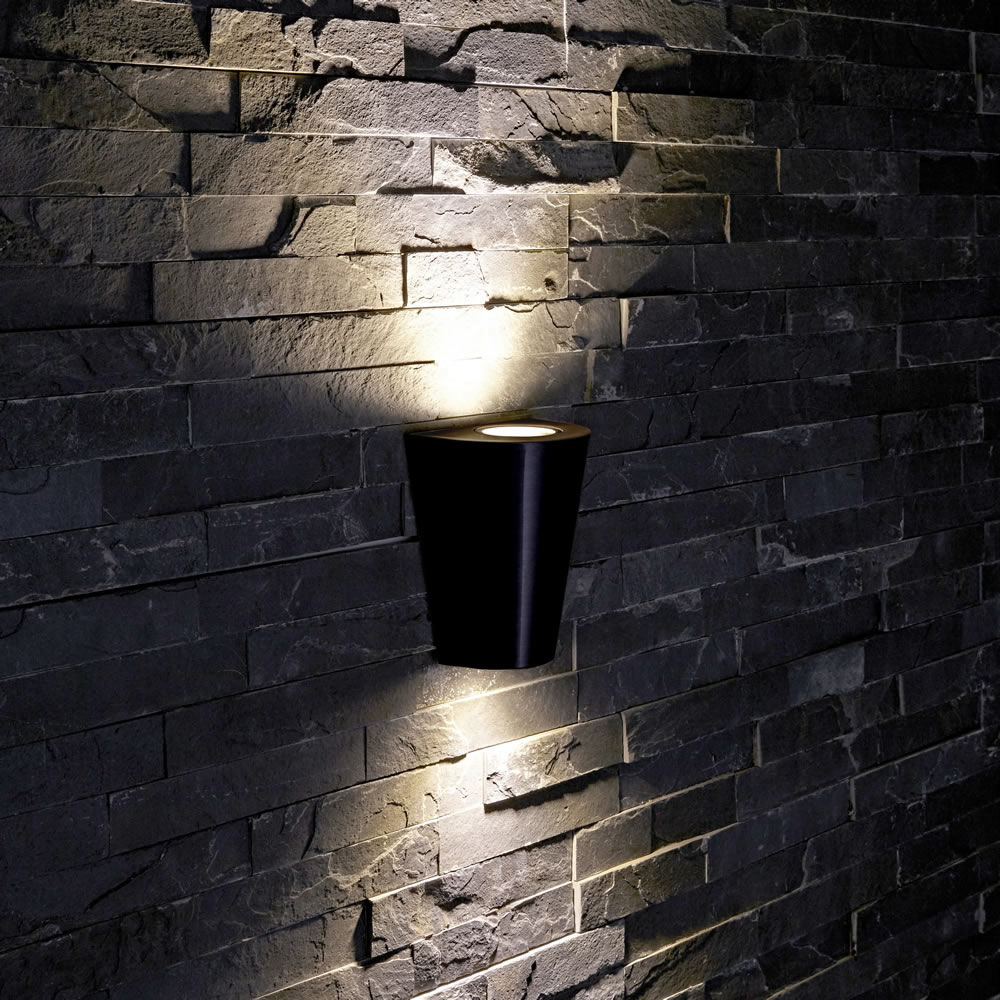 Biard Sintra IP54 Round Up/Down Outdoor Wall Light - Black