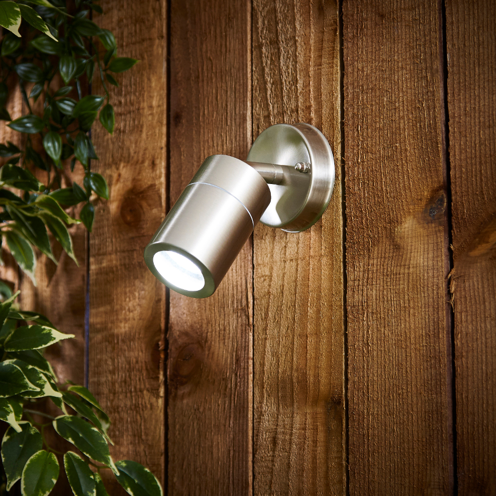 Biard Le Mans IP44 Adjustable Outdoor Wall Light - Brushed Steel