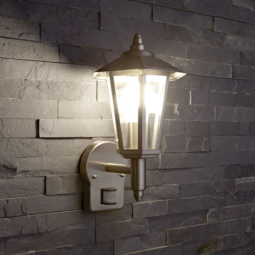 Biard Cannes Outdoor Wall Lantern with PIR - Brushed Steel