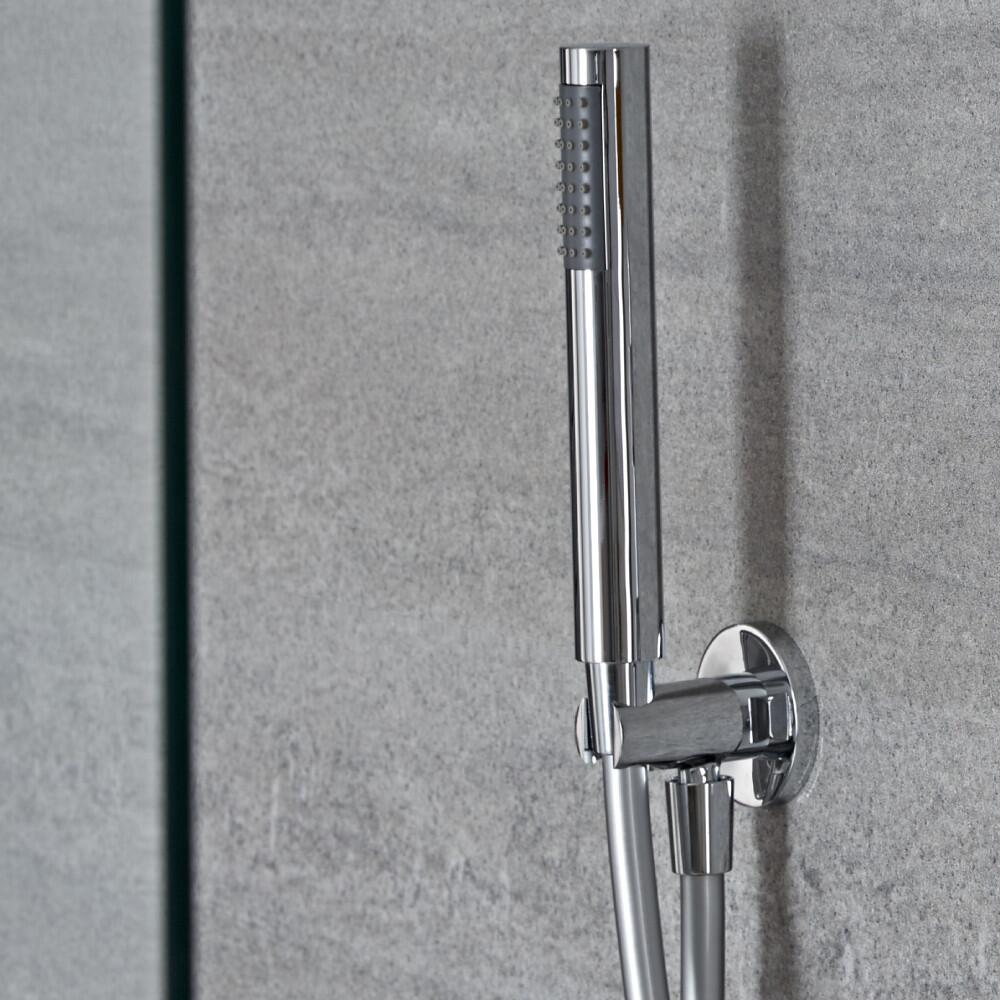 Milano Mirage - Modern Round Hand Shower with Wall Bracket and Integrated Outlet Elbow - Chrome