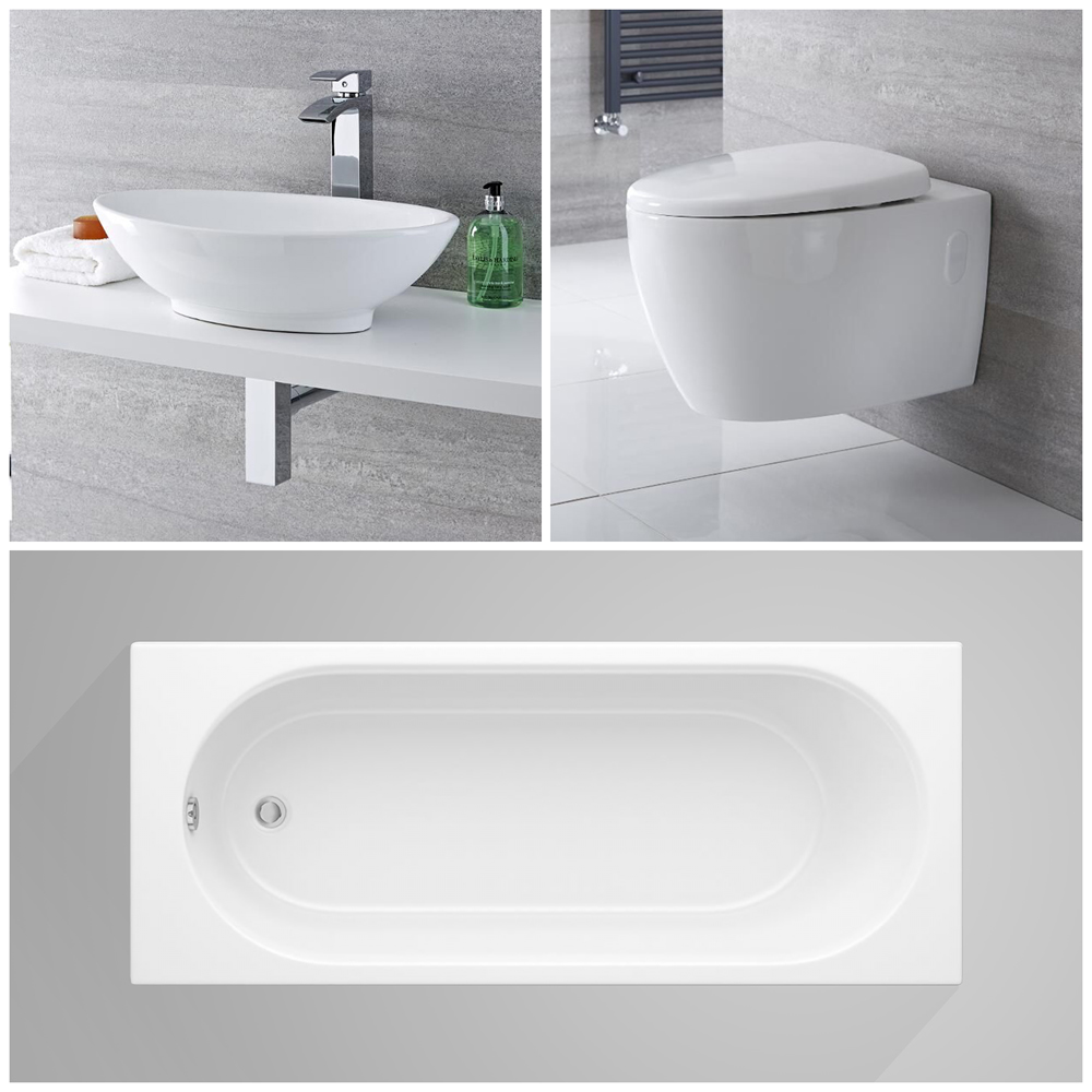 Milano Altham - Complete Modern Bathroom Suite with Standard Bath and Taps