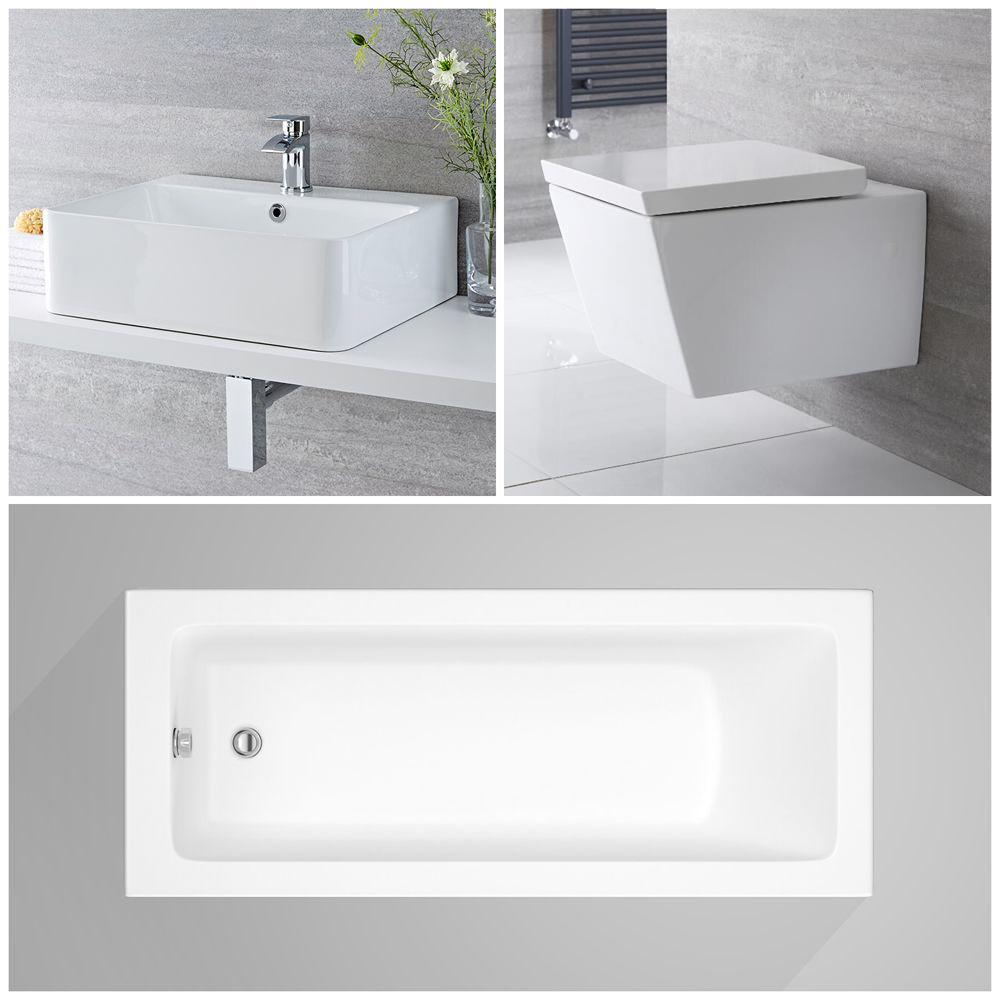 Milano Dalton - Modern Complete Bathroom Suite with Standard Bath and Taps
