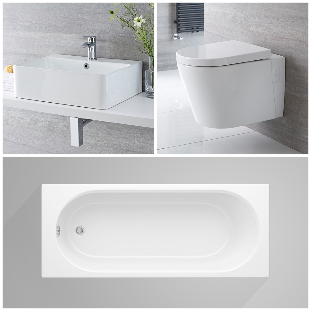 Milano Farington - Complete Modern Bathroom Suite with Standard Bath and Taps