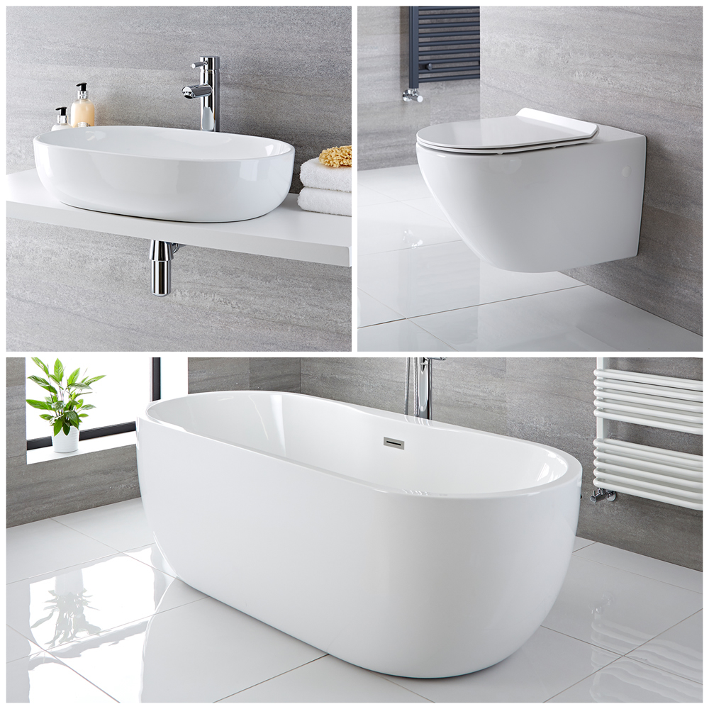 Milano Overton - Complete Modern Bathroom Suite with Freestanding Bath